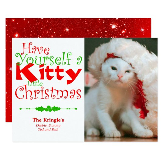 Kitty Christmas Holiday Pet Photo Card