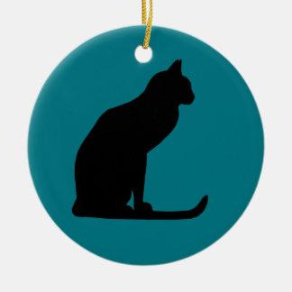 Kitty Christmas Round Ceramic Decoration