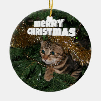 Kitty Christmas wishes Round Ceramic Decoration