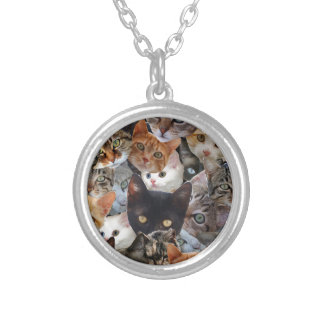 Kitty Collage Round Pendant Necklace