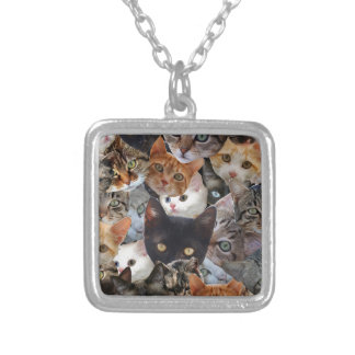 Kitty Collage Square Pendant Necklace