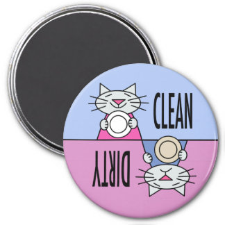 Kitty dishwasher clean dirty blue pink 7.5 cm round magnet