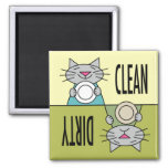 Kitty dishwasher soft green yellow square magnet