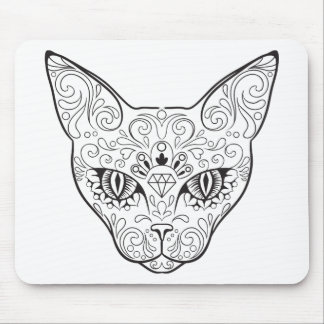 Kitty Face Sugar Skull | Day of the Dead Cat Mouse Mat