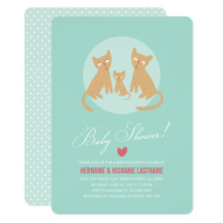 Kitty Family Mint Couples Baby Shower Invite Round