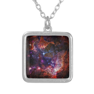 Kitty Galaxy Square Pendant Necklace