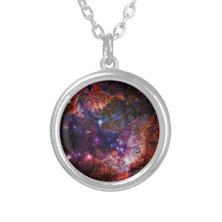 Kitty Galaxy Round Pendant Necklace