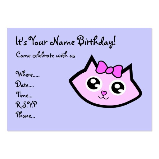 Kitty head  Birthday invitation Business Card Template