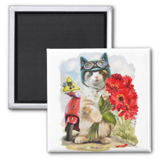 Kitty holding a bouquet of red flowers magnet