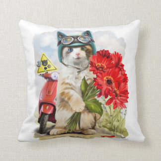 Kitty holding a bouquet of red flowers throw pillow
