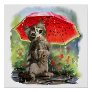 Kitty holds a red umbrella poster