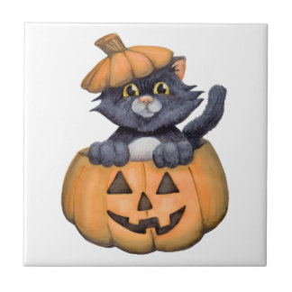 Kitty in a Pumpkin Tile