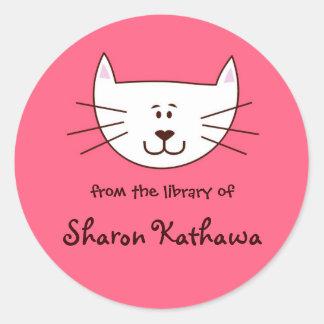 Kitty in Pink bookplates Round Sticker