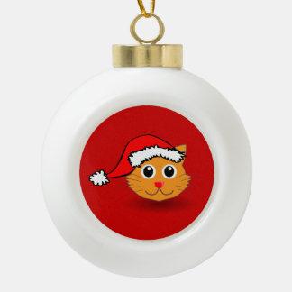 Kitty in Santa Hat Ornament