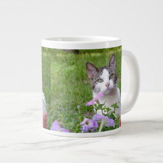 Kitty in the Flowers Jumbo Mug