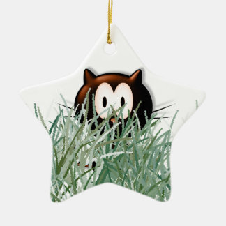 Kitty in the grass ceramic star decoration