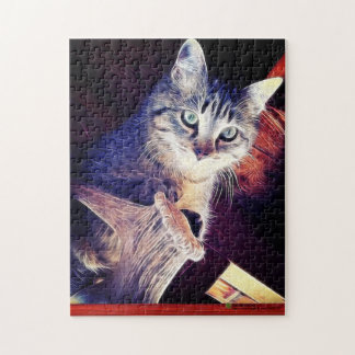 Kitty In The Rafters Close-Up Photograph Jigsaw Puzzle