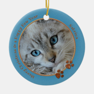 Kitty Keepsake Blue Christmas Photo Ornament