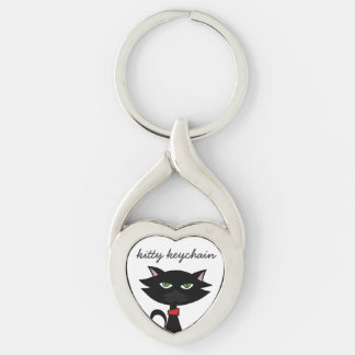 Kitty Keychain- black cat love Silver-Colored Twisted Heart Key Ring