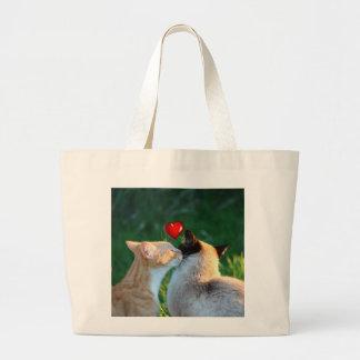 Kitty kiss large tote bag