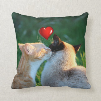 Kitty kiss throw pillow
