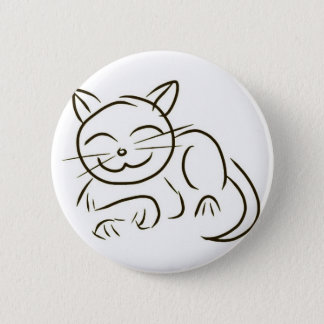 Kitty Line Drawing 6 Cm Round Badge