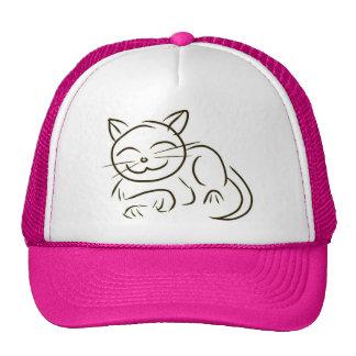 Kitty Line Drawing Mesh Hats