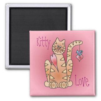 KITTY LOVE & BLUEBIRD by SHARON SHARPE Square Magnet