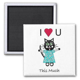 Kitty Love Square Magnet