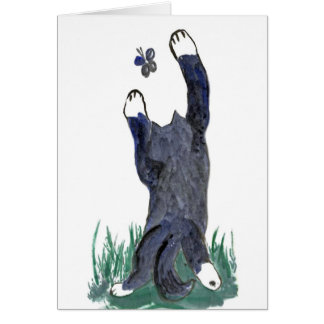 Kitty Makes a Stretching Leap toward Flutter-by Greeting Card