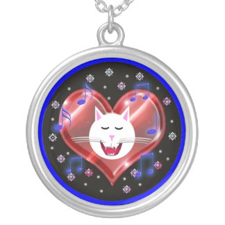 kitty mewsic round pendant necklace
