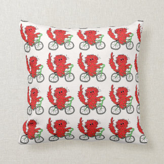 Kitty on bike pillow