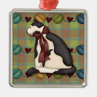 Kitty on Green Red Blue Plaid Premium Silver-Colored Square Decoration