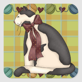 Kitty on Plaid with Balls of Yarn Border Square Stickers
