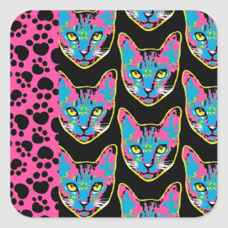 Kitty Patch Square Stickers