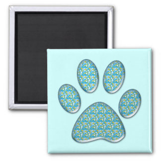 kitty paw print square magnet