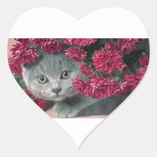 Kitty-Peek-A-Boo Heart Sticker
