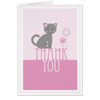 Kitty - pink Thank you card