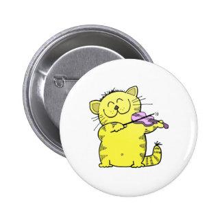 Kitty Play Violin 6 Cm Round Badge