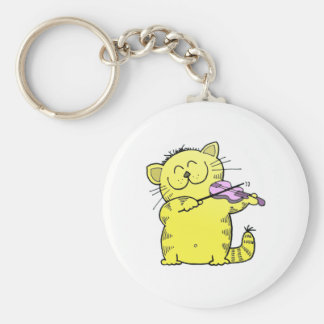 Kitty Play Violin Basic Round Button Key Ring