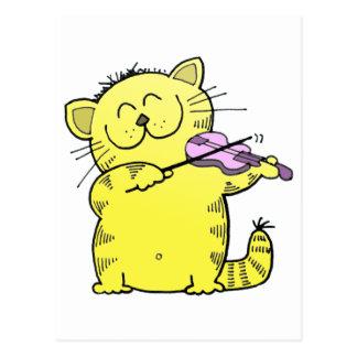 Kitty Play Violin Postcard
