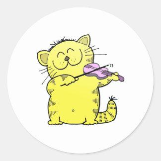 Kitty Play Violin Round Sticker