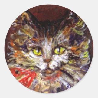 KITTY PORTRAIT ROUND STICKER