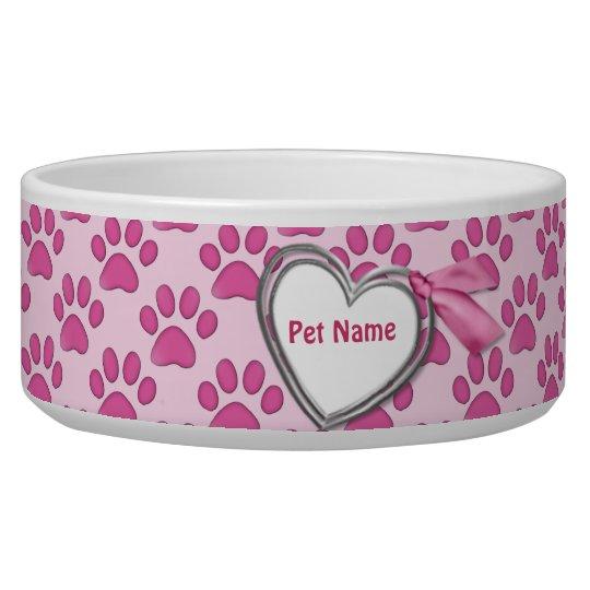 Kitty Prints Pink Cat Dish - Customise Dog Water Bowl