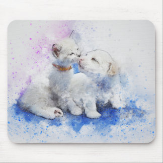 Kitty & Puppy Love | Abstract | Watercolor Mouse Mat