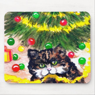 Kitty Putting On Christmas Decorations Holiday Cat Mouse Pad