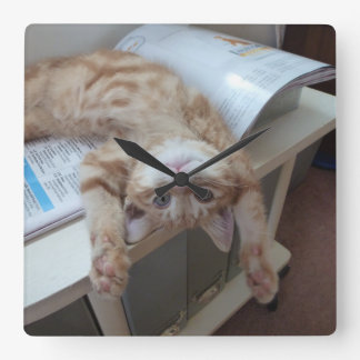 Kitty Relaxing Square Wall Clock