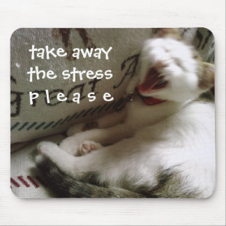 "KITTY SAYS ""TAKE AWAY THE STRESS PLEASE"" MOUSE PAD"