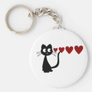 Kitty Sees Love I Basic Round Button Key Ring