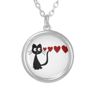 Kitty Sees Love I Round Pendant Necklace